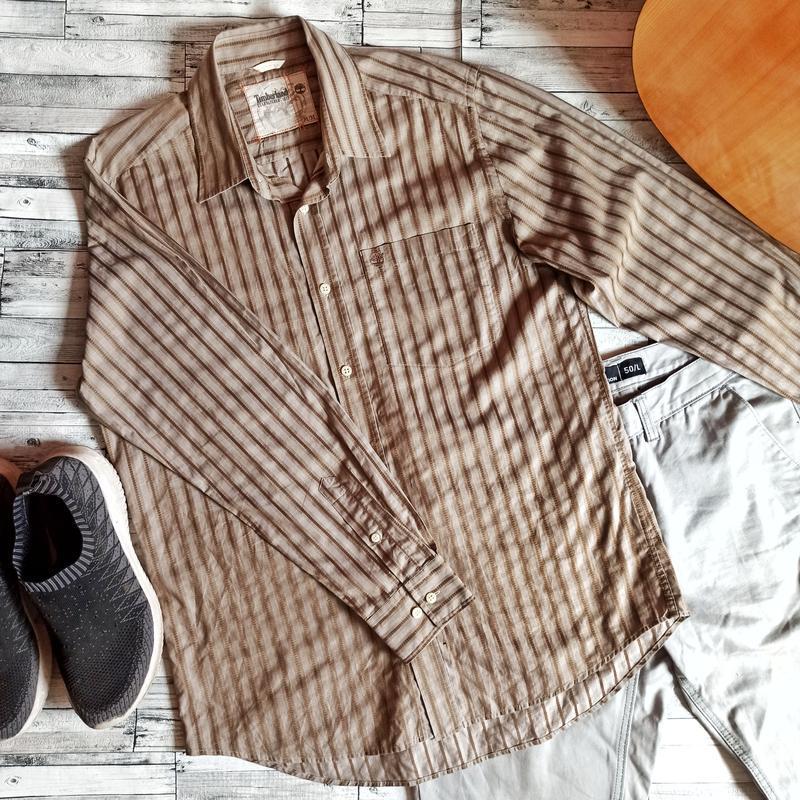 Timberland мужская рубашка в полоску шоколадный цвет