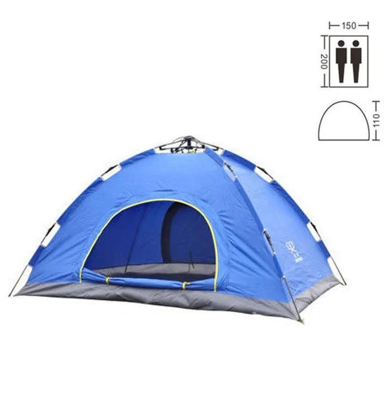 Палатка туристическая двухместная автомат синяя - Фото 2