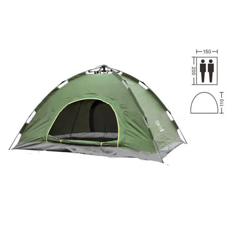 Палатка туристическая двухместная автомат зеленая - Фото 2