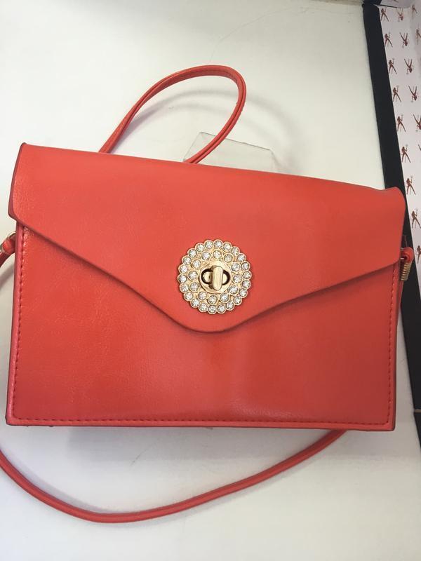 Женская маленькая красная сумочка код 1612 - Фото 3