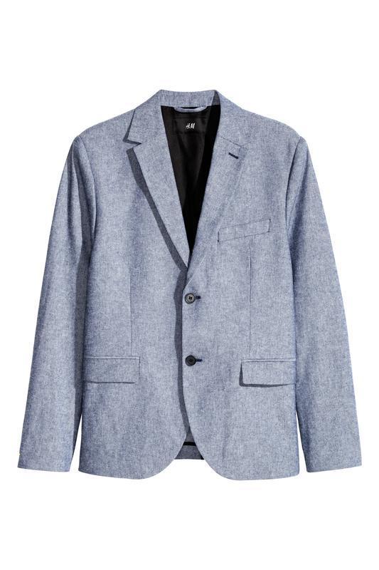 Голубой хлопковый пиджак h&m , slim fit!
