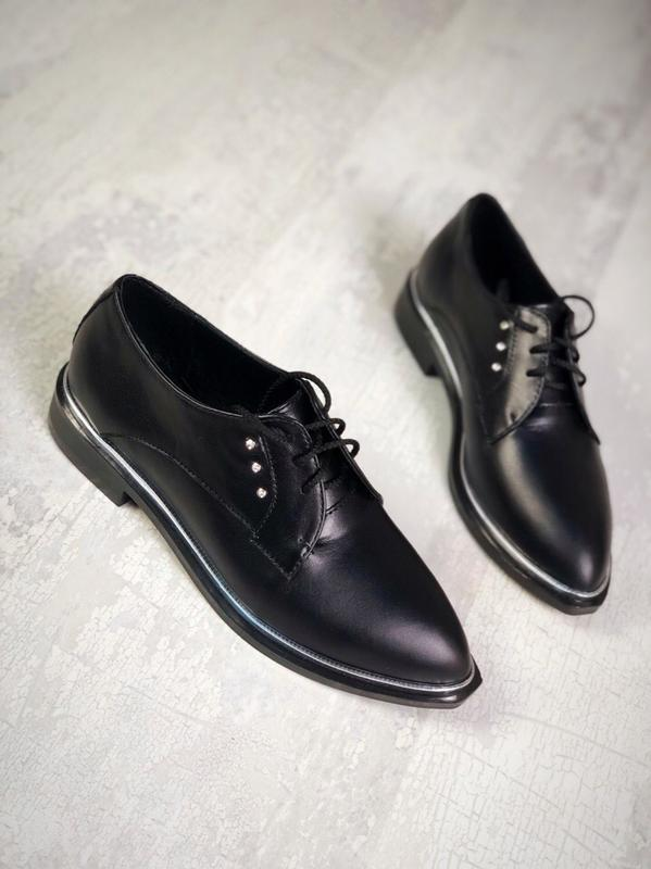 Люксовые кожаные закрытые туфли на шнурках с узким с острым но...