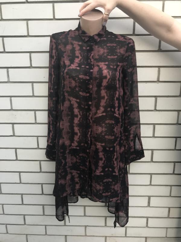 Крутая,ассиметр,удлиненная по спинке рубашка,блуза,туника проз...