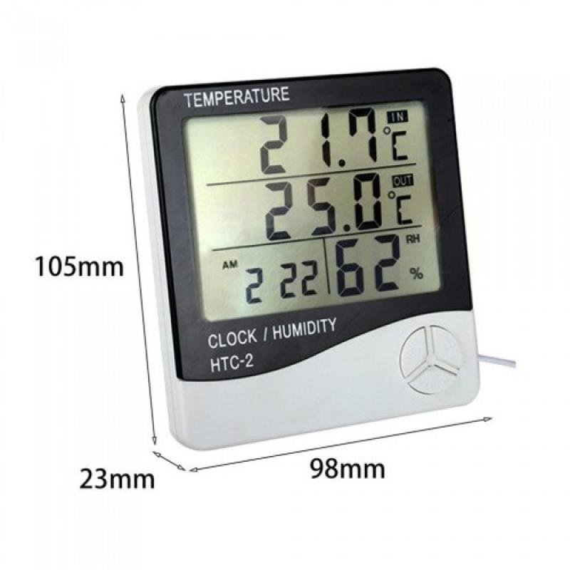 Термометр, гигрометр, метеостанция, часы HTC-2 + выносной датчик - Фото 2