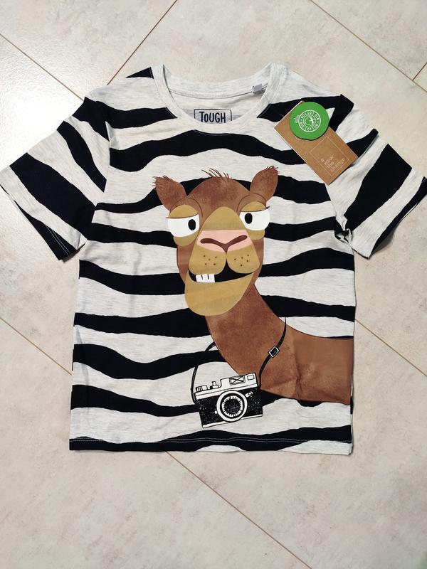 Классная футболка в полоску принт верблюд