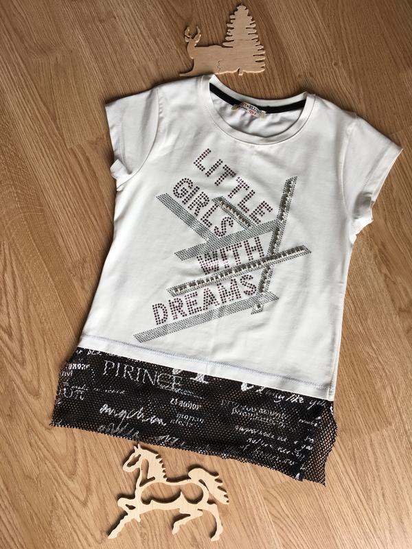 Суперская футболка низ сеточкой на девочку 7-8 лет.