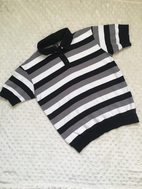Тениска, футболка, джемпер, поло, черно-белое поло в полоску