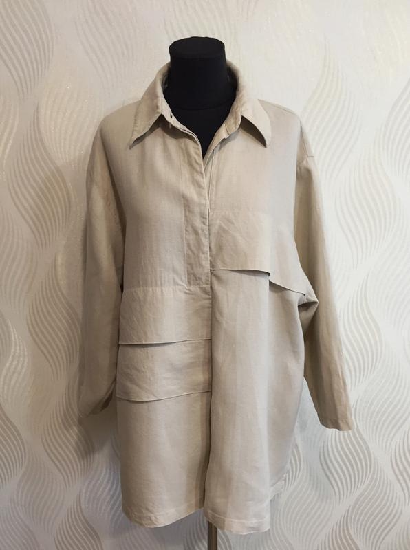 Стильная оверсайз льняная рубашка spengler plus - Фото 2
