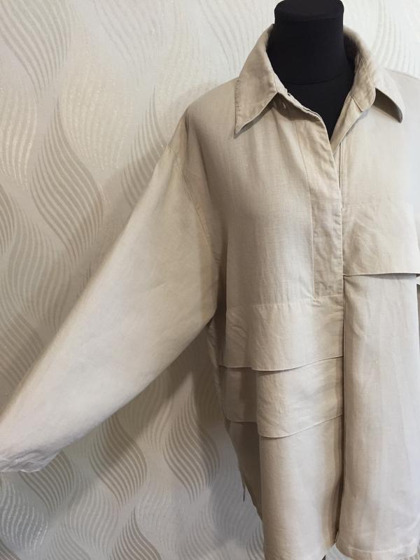 Стильная оверсайз льняная рубашка spengler plus - Фото 6