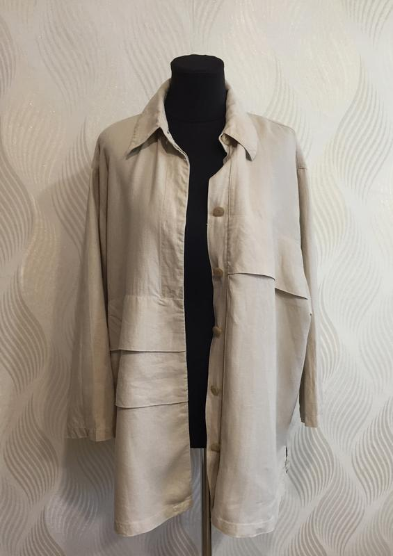 Стильная оверсайз льняная рубашка spengler plus - Фото 7