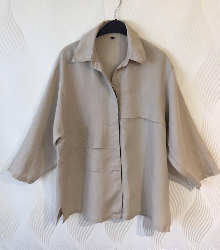 Стильная оверсайз льняная рубашка spengler plus - Фото 8