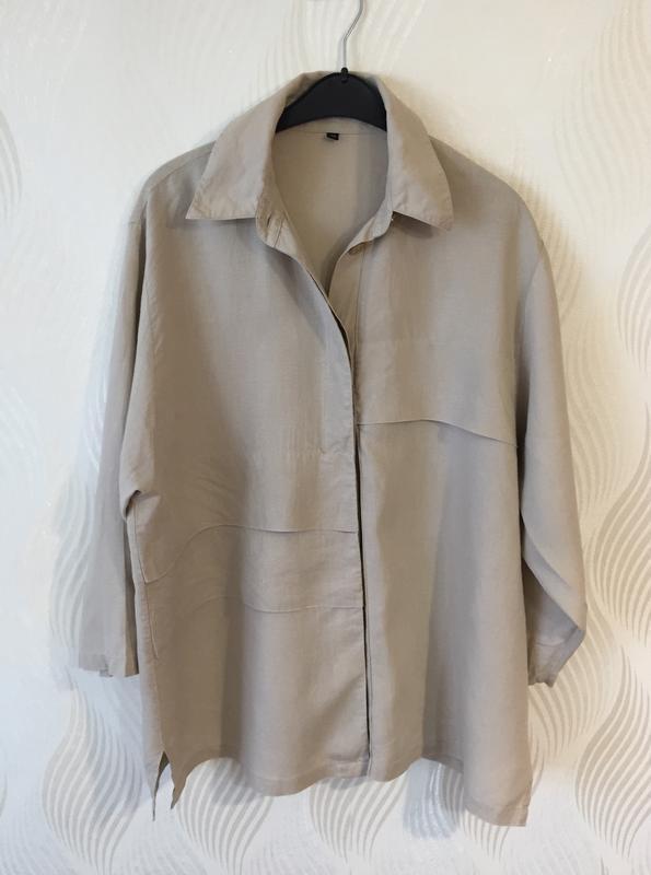 Стильная оверсайз льняная рубашка spengler plus - Фото 9