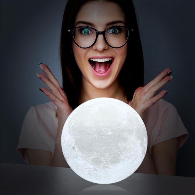 Ночник 3D светильник луна Moon Touch Control 15 см, 5 режимов - Фото 5