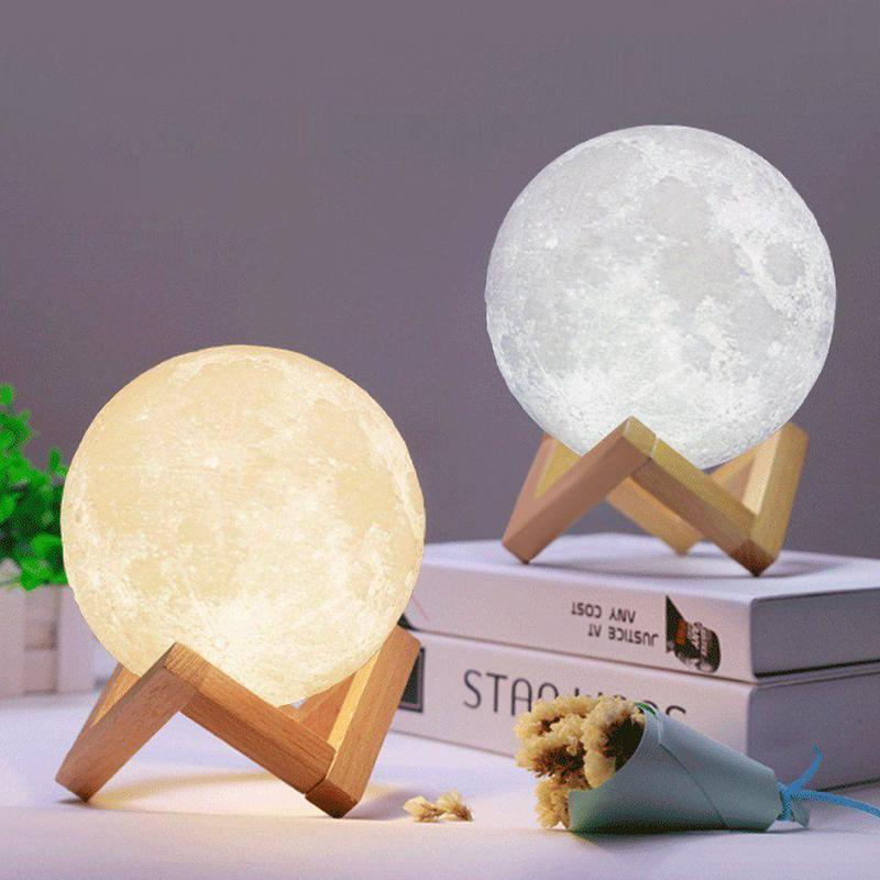 Ночник 3D светильник луна Moon Touch Control 15 см, 5 режимов - Фото 6