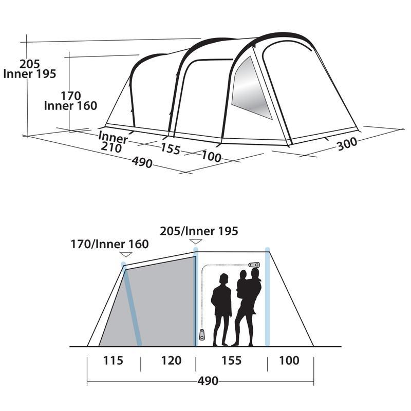 Пятиместная Палатка С Надувным Каркасом Easy Camp Base Air 500 - Фото 10