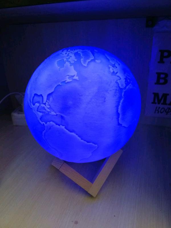Дизайнерская, яркая Сенсорная лампа ночник 3D космос 18см. - Фото 8