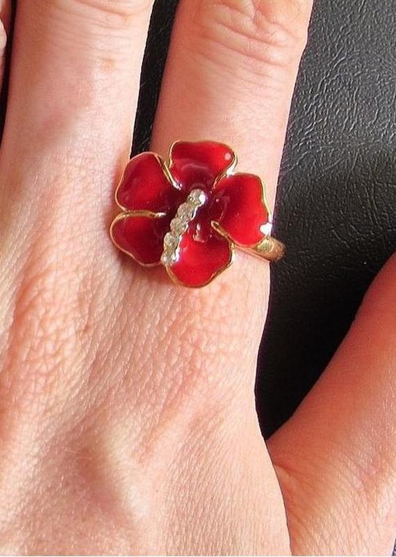 🏵️позолоченное кольцо цветок в стразах, 19 р., новое! арт. 3311