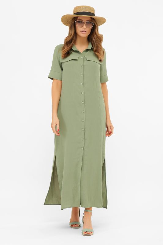 Длинное платье-рубашка мелиса s m, l, xl - Фото 5