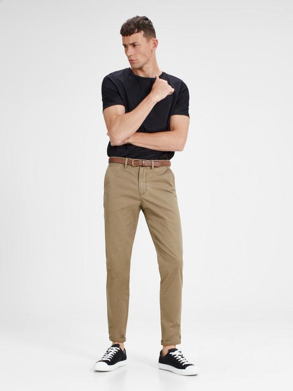 Чино брюки мужские песочные с косыми карманами  Jack & Jones