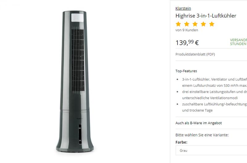 Мобильный кондиционер Охладитель воздуха Klarstein Oneconcept - Фото 8
