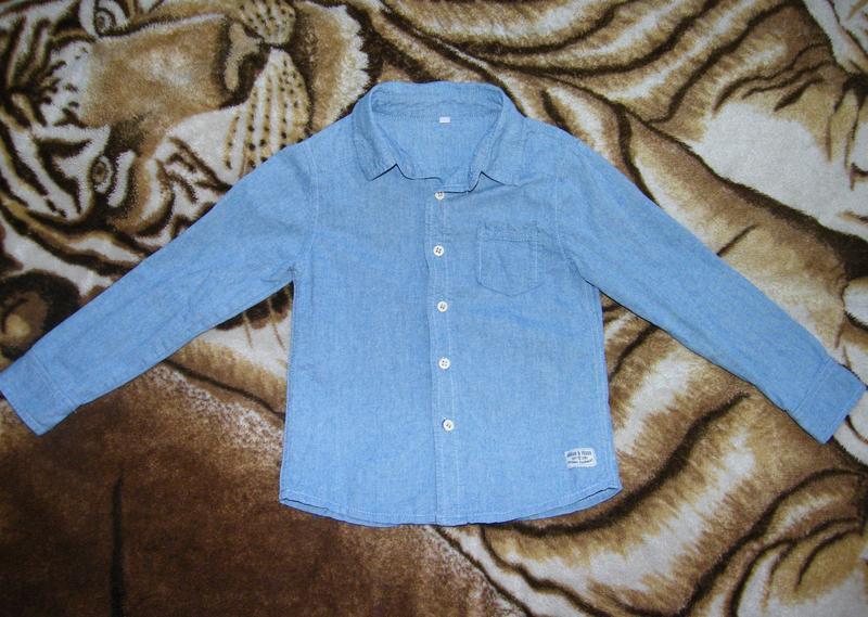 Красивая рубашка zeeman из хлопка, мальчику 6 лет (рост 116см)