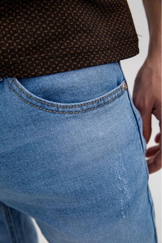 Джинсовые шорты мужские цвет Голубой - Фото 6