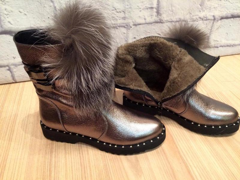 Зимние ботинки полуботинки сапоги..кожа и мех натуральные..35-...