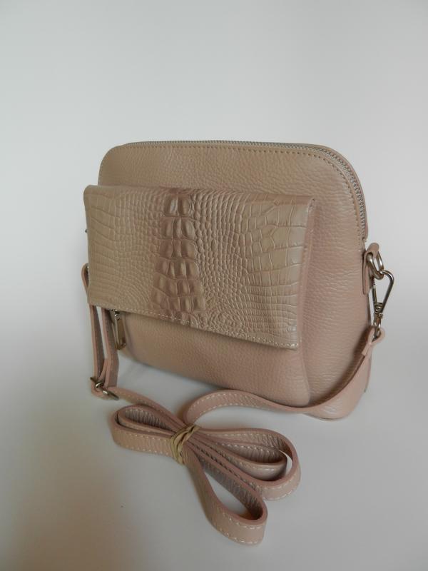 Кожаная женская сумочка кроссбоди vera pelle! - Фото 2