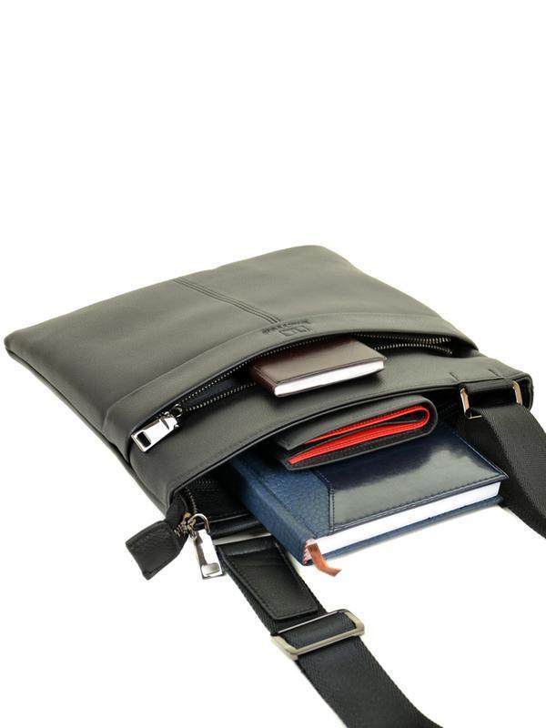 Мужская кожаная сумка-планшет, черная сумка на плечо - Фото 2