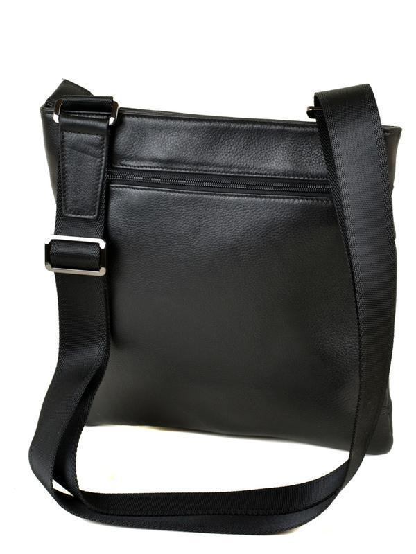 Мужская кожаная сумка-планшет, черная сумка на плечо - Фото 3