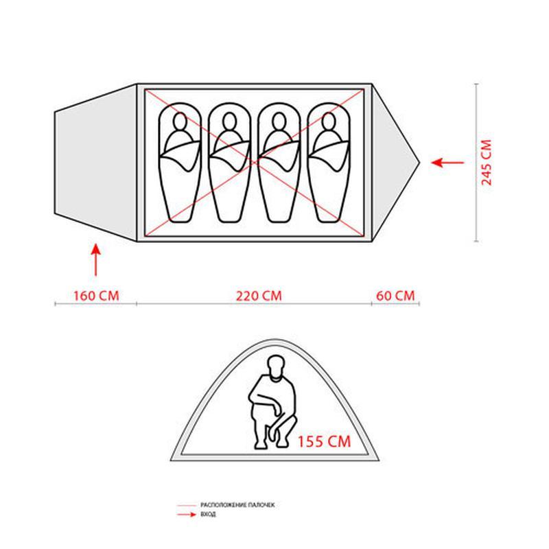 Палатка четырехместная GreenCamp 1009-2 - Фото 4