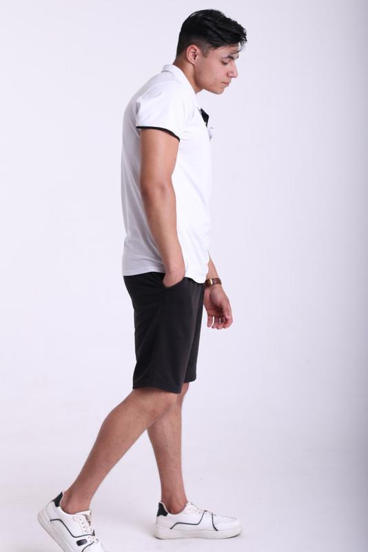 Футболка поло белая с белым логотипом Adidas - Фото 2