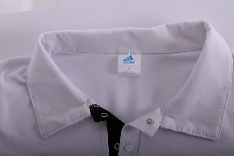 Футболка поло белая с белым логотипом Adidas - Фото 5