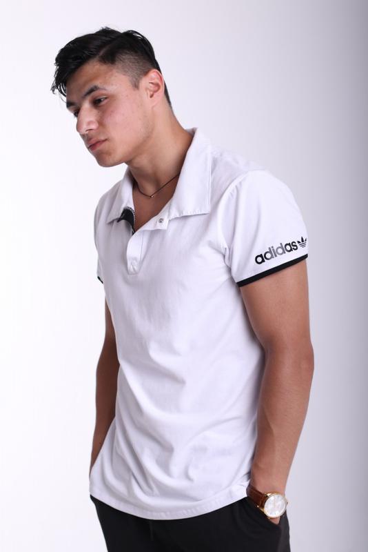 Футболка поло белая с белым логотипом Adidas - Фото 7