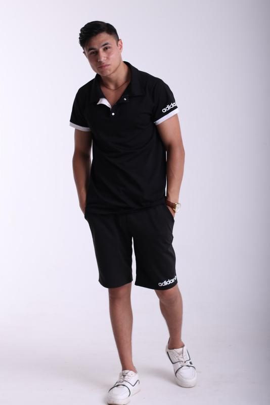 Футболка поло чёрная с белым логотипом Adidas - Фото 10