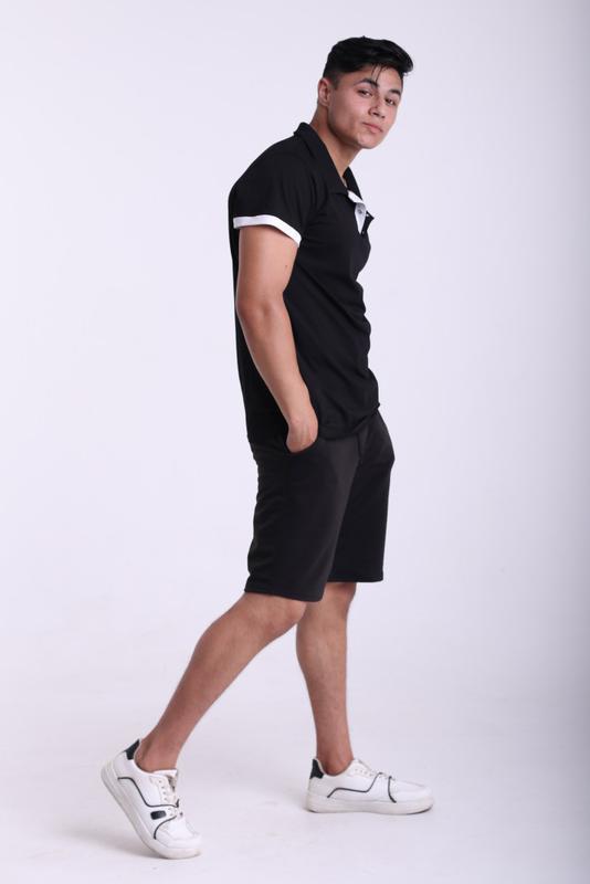 Футболка поло чёрная с белым логотипом Adidas - Фото 9