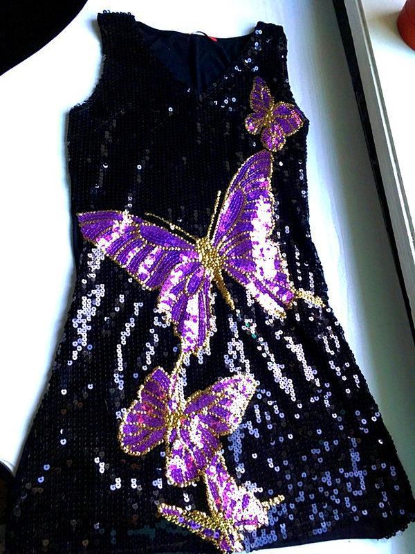 Платье в пайетки, вечернее с паетками и бабочки черное, фиолет...