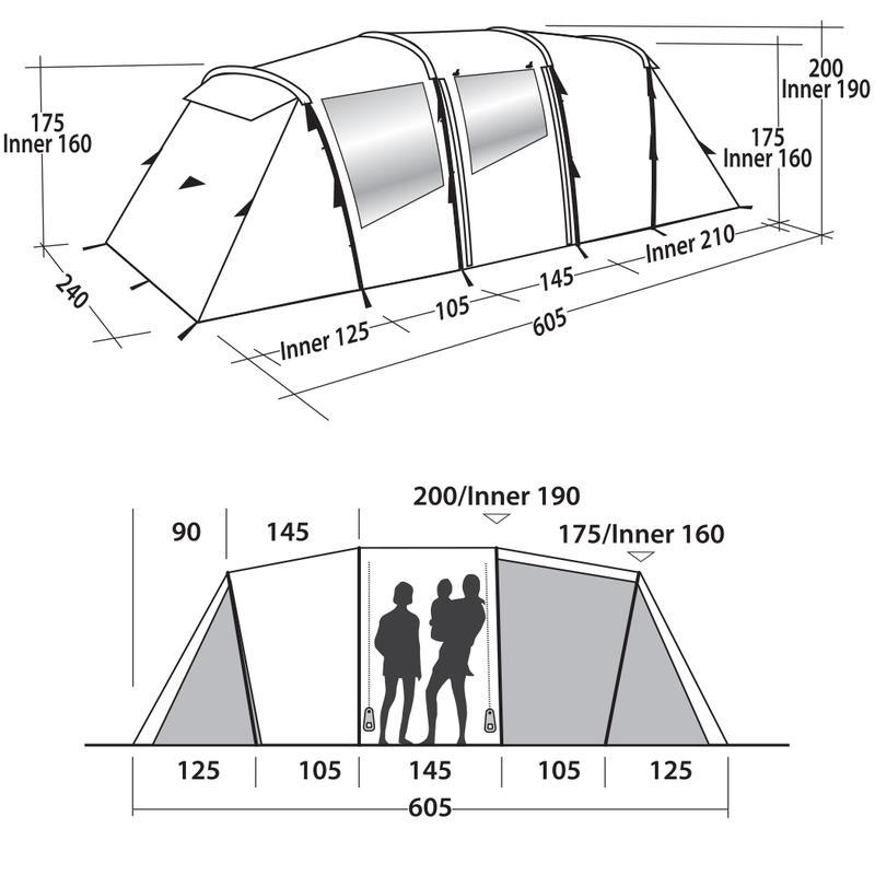 Палатка кемпинговая шестиместная Easy Camp Huntsville Twin 600 - Фото 10