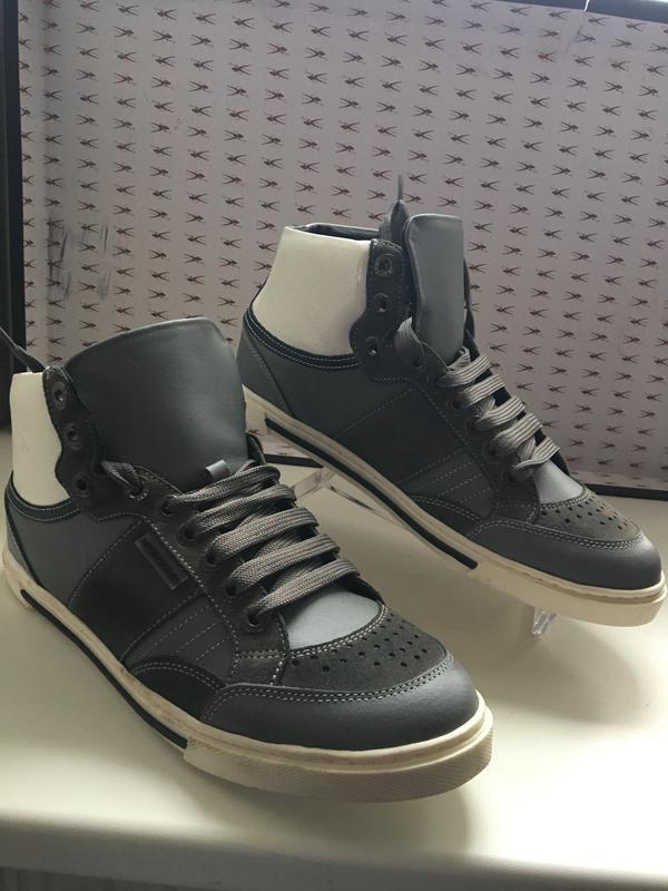 Кроссовки мужские кожаные темно-серого цвета код Кроссовки мужски