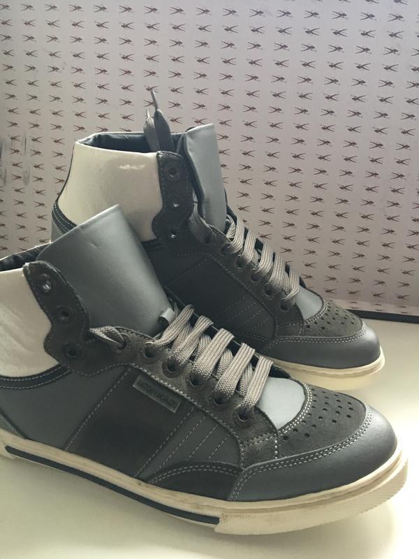 Кроссовки мужские кожаные темно-серого цвета код Кроссовки мужски - Фото 2