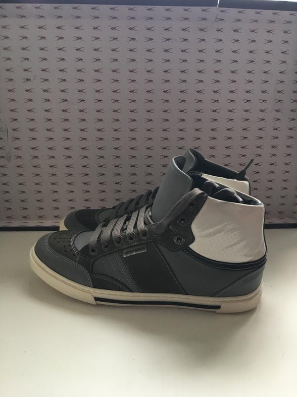Кроссовки мужские кожаные темно-серого цвета код Кроссовки мужски - Фото 3
