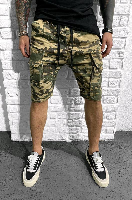 Камуфляжные мужские джинсовые шорты Black island