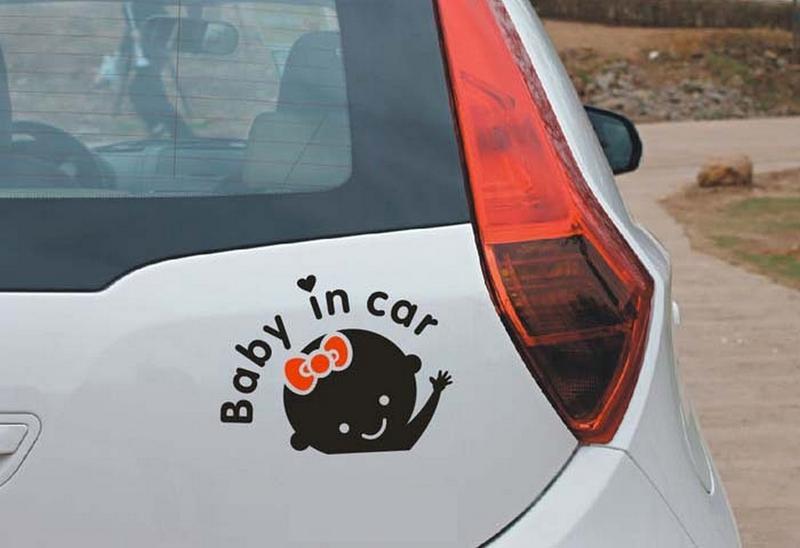 Наклейка на авто Девочка Чёрная с красным бантиком - Фото 2