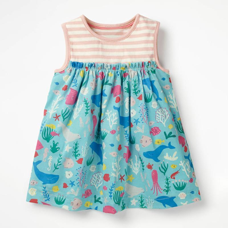 Платье для девочки, голубое. морской мир.