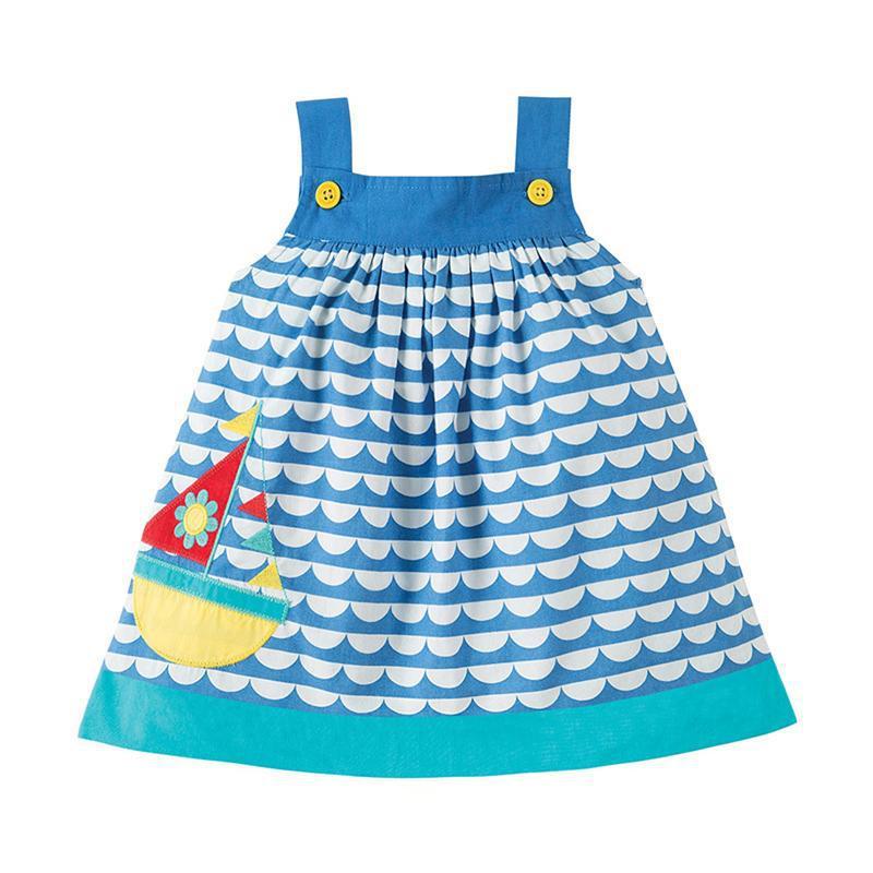 Сарафан для девочки, голубой. морской.