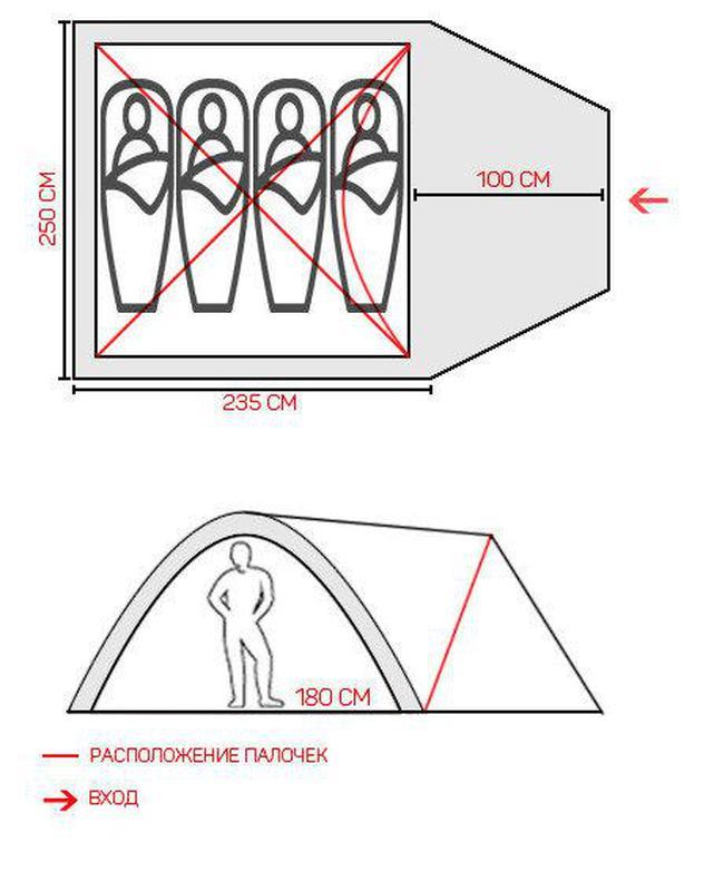 Палатка четырехместная GreenCamp 1004 - Фото 4