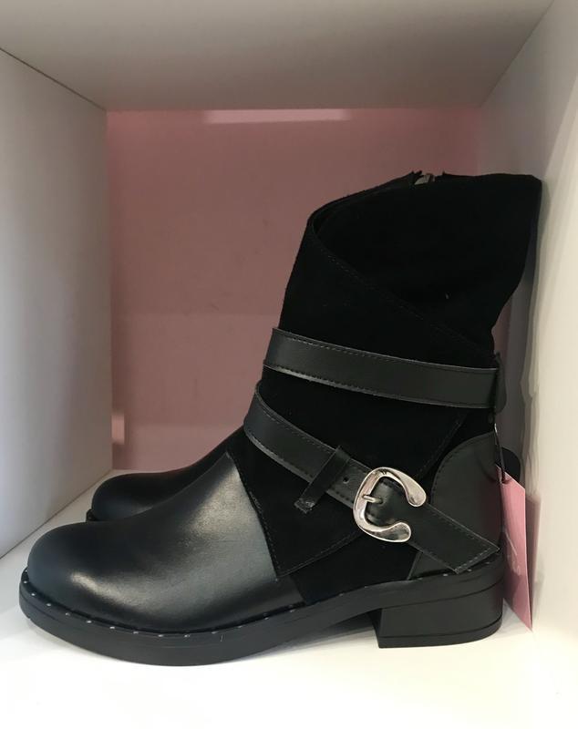 Зимові черевички з пряжечкою, шкіра + замш, розмір 40