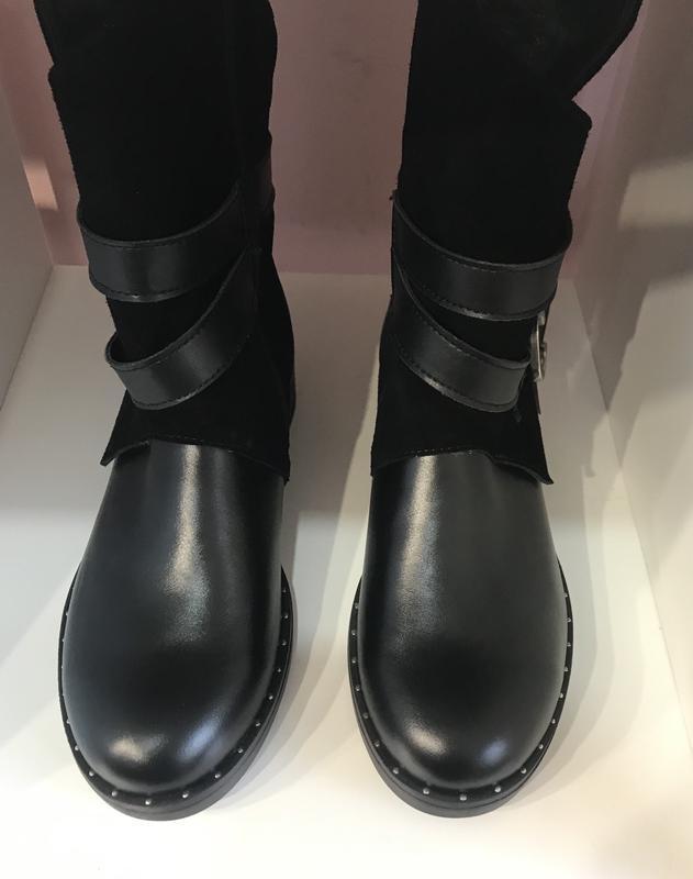 Зимові черевички з пряжечкою, шкіра + замш, розмір 40 - Фото 2