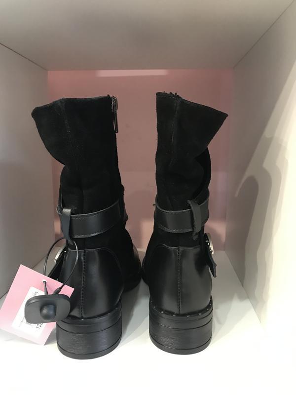 Зимові черевички з пряжечкою, шкіра + замш, розмір 40 - Фото 3