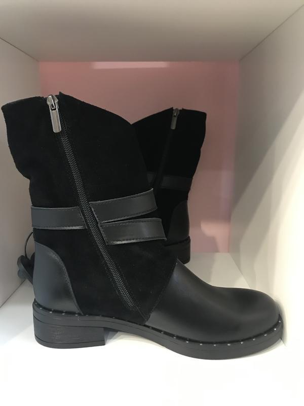Зимові черевички з пряжечкою, шкіра + замш, розмір 40 - Фото 4